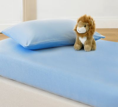 100% Cotton Jersey Fitted Sheet Set for Kids-Light Blue-Toddler