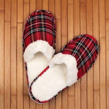 Closed Toe Tartan Slippers
