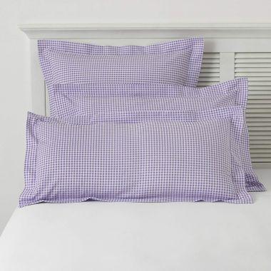 TC150 Gingham Check Pillowcase Pair-Purple-Oxford
