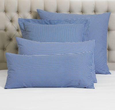 TC150 Gingham Check Pillowcase Pair-Blue-EuroSmall