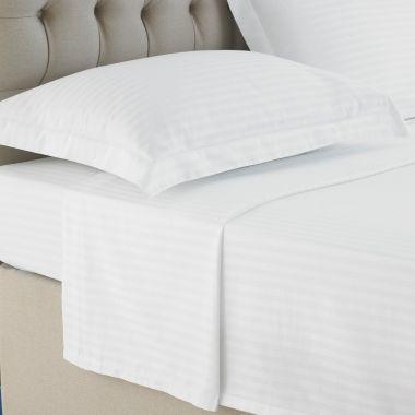 250TC Egyptian Cotton Sateen Stripe Flat Sheet