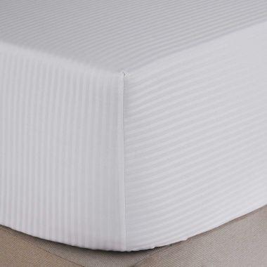 500TC Egyptian Cotton Sateen Stripe Deep Fitted Sheet